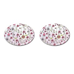 Pink Whimsical Flowers On Pink Cufflinks (oval)