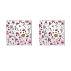 Pink whimsical flowers on pink Cufflinks (Square)