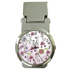 Pink whimsical flowers on pink Money Clip with Watch