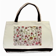 Pink Whimsical Flowers On Pink Classic Tote Bag