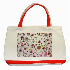 Pink Whimsical Flowers On Pink Classic Tote Bag (red)
