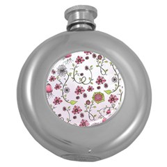 Pink whimsical flowers on pink Hip Flask (Round)