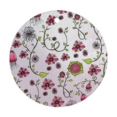 Pink Whimsical Flowers On Pink Round Ornament (two Sides)