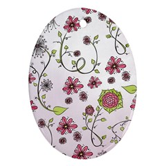 Pink whimsical flowers on pink Oval Ornament (Two Sides)