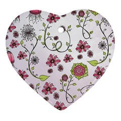 Pink whimsical flowers on pink Heart Ornament (Two Sides)