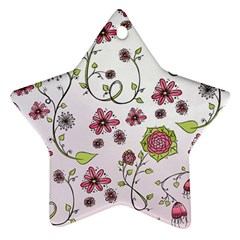 Pink whimsical flowers on pink Star Ornament (Two Sides)