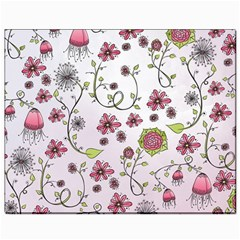 Pink whimsical flowers on pink Canvas 8  x 10  (Unframed)