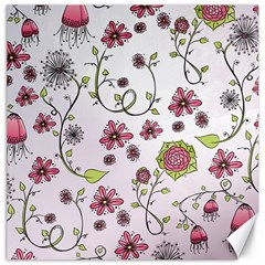Pink Whimsical Flowers On Pink Canvas 16  X 16  (unframed)