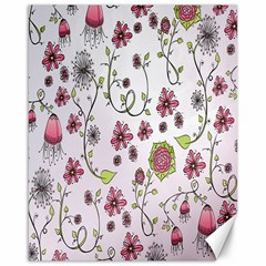 Pink whimsical flowers on pink Canvas 16  x 20  (Unframed)
