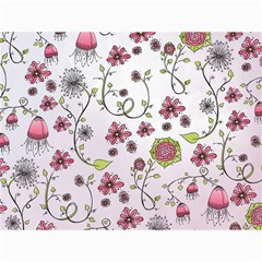 Pink whimsical flowers on pink Canvas 18  x 24  (Unframed)