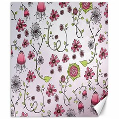 Pink whimsical flowers on pink Canvas 20  x 24  (Unframed)