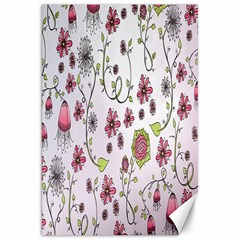 Pink whimsical flowers on pink Canvas 20  x 30  (Unframed)