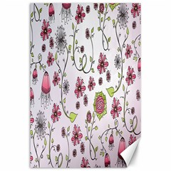 Pink whimsical flowers on pink Canvas 24  x 36  (Unframed)