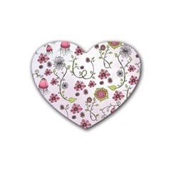 Pink whimsical flowers on pink Drink Coasters (Heart)