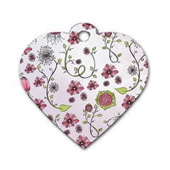 Pink whimsical flowers on pink Dog Tag Heart (One Sided)