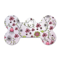 Pink whimsical flowers on pink Dog Tag Bone (Two Sided)