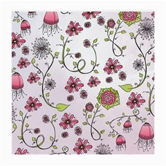 Pink whimsical flowers on pink Glasses Cloth (Medium)