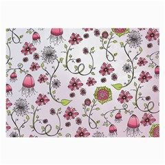 Pink whimsical flowers on pink Glasses Cloth (Large, Two Sided)