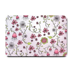 Pink whimsical flowers on pink Small Door Mat