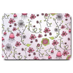 Pink Whimsical Flowers On Pink Large Door Mat