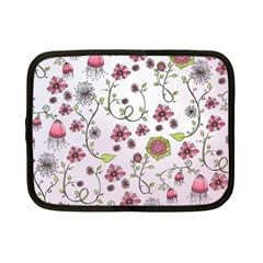 Pink Whimsical Flowers On Pink Netbook Sleeve (small)
