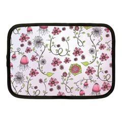 Pink Whimsical Flowers On Pink Netbook Sleeve (medium)