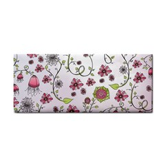 Pink whimsical flowers on pink Hand Towel