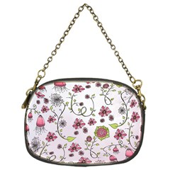 Pink Whimsical Flowers On Pink Chain Purse (one Side)