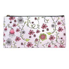 Pink whimsical flowers on pink Pencil Case
