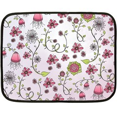 Pink whimsical flowers on pink Mini Fleece Blanket (Two Sided)