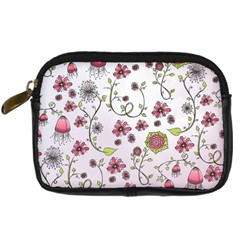 Pink Whimsical Flowers On Pink Digital Camera Leather Case