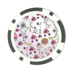 Pink whimsical flowers on pink Poker Chip (10 Pack)