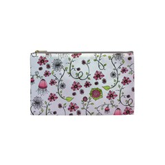 Pink whimsical flowers on pink Cosmetic Bag (Small)
