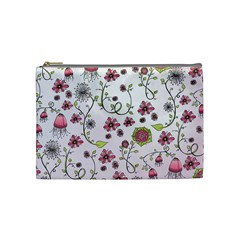 Pink whimsical flowers on pink Cosmetic Bag (Medium)