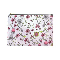 Pink Whimsical Flowers On Pink Cosmetic Bag (large)