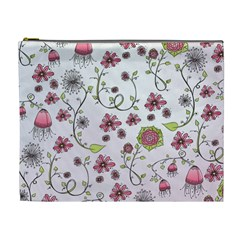 Pink whimsical flowers on pink Cosmetic Bag (XL)