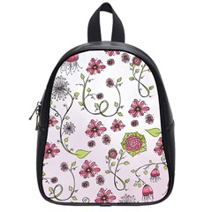 Pink Whimsical Flowers On Pink School Bag (small)