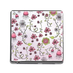 Pink whimsical flowers on pink Memory Card Reader with Storage (Square)