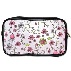 Pink Whimsical Flowers On Pink Travel Toiletry Bag (two Sides)