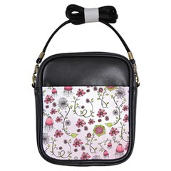 Pink Whimsical Flowers On Pink Girl s Sling Bag
