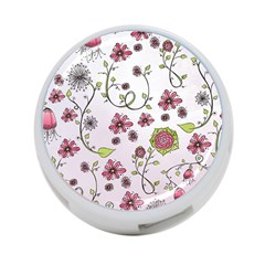 Pink whimsical flowers on pink 4-Port USB Hub (One Side)