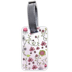 Pink whimsical flowers on pink Luggage Tag (One Side)