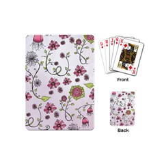 Pink Whimsical Flowers On Pink Playing Cards (mini)