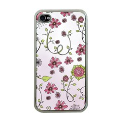 Pink Whimsical Flowers On Pink Apple Iphone 4 Case (clear)