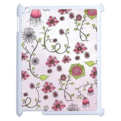 Pink Whimsical Flowers On Pink Apple Ipad 2 Case (white)