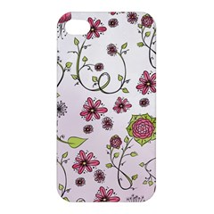 Pink Whimsical Flowers On Pink Apple Iphone 4/4s Hardshell Case