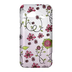 Pink whimsical flowers on pink HTC Droid Incredible 4G LTE Hardshell Case