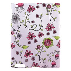 Pink Whimsical Flowers On Pink Apple Ipad 3/4 Hardshell Case
