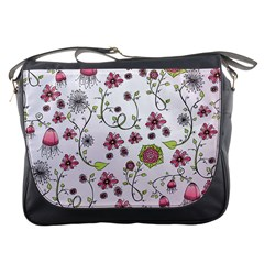Pink Whimsical Flowers On Pink Messenger Bag