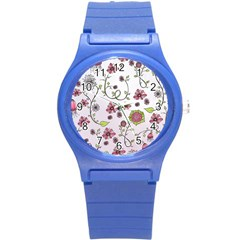 Pink Whimsical Flowers On Pink Plastic Sport Watch (small)